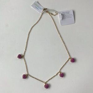 JCrew CrewCuts Factory Pave pink heart necklace.